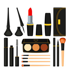 18 colorful cartoon make up element vector image