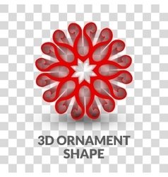 3d Ornament shape on transparent grid background vector