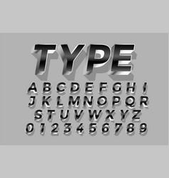 3d style silver shiny text effect design alphabets vector