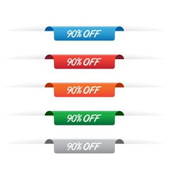 90 percent off paper tag labels vector image
