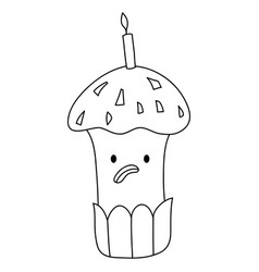 a children coloring bookpage a kawaii cupcake vector image
