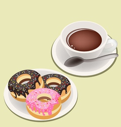 A Smoking Hot Coffee with Glazed Donuts vector image
