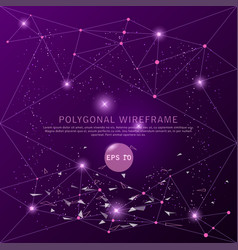 abstract purple background futuristic wire frame vector image