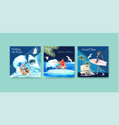 Ads template with surfboards at beach design vector