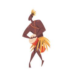 African ritual dance young man dancing wit drum vector