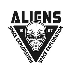 Aliens black emblem with face of humanoid vector