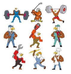 American eagle mascot cartoon set vector