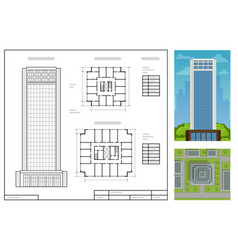 Architectural project modern project building vector