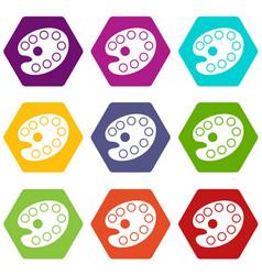 art palette icon set color hexahedron vector image