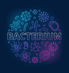 Bacterium round colorful microbiology line vector