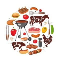 BBQ Essentials Round Composition vector image