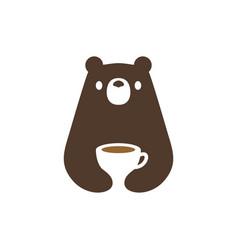 Bear coffee cup negative space logo icon vector