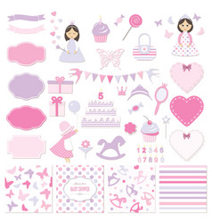 birthday and girl bashower design elements set vector image