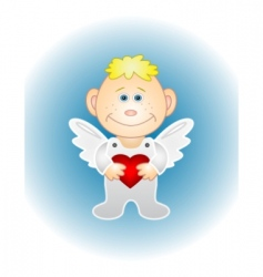 boy angel with red heart vector image