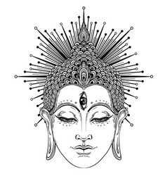 buddha face esoteric vintage vector image