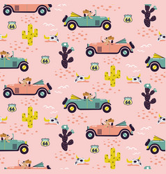 Car race in sand desert cute girl seamless pattern vector