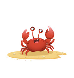 cartoon crab crawling on sand vector image