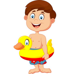 cartoon kid with inflatable ring vector image