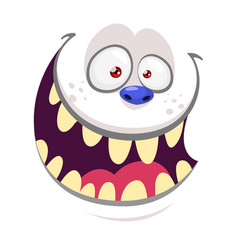 Cartoon monster yeti face isolated on white vector