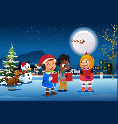 Children singing outdoor during christmas season vector