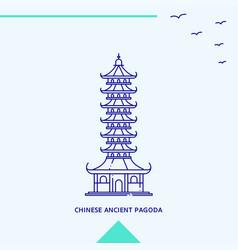chinese ancient pagoda skyline vector image