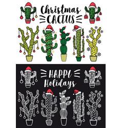 Christmas cactus set christmas cactus set vector