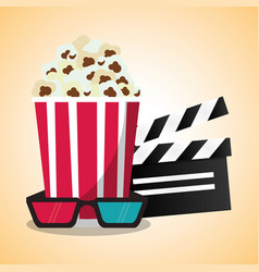 Cinema pop corn clapper and 3d glasses vector