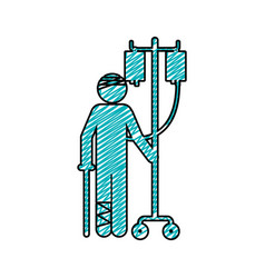 Color pencil drawing of pictogram bandage patient vector