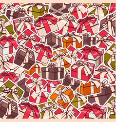 colorful gift boxes and red bows ribbons holiday vector image