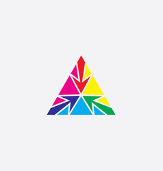 colorful triangle cmyk and rgb mix vector image