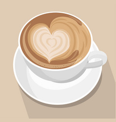 cup coffee with heart latte art vector image