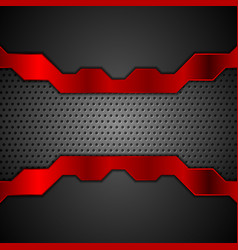 dark metal perforated background with red stripes vector image