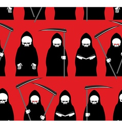 Death seamless pattern Grim Reaper red background vector image