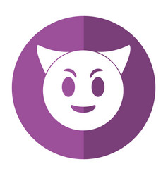 devil emoticon funny shadow vector image
