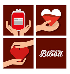 donate blood set medical healthycare vector image