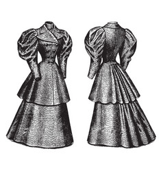 Double breasted coat and skirt vintage engraving vector