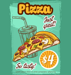 Fast food pizza menu sketch poster vector
