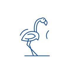 flamingo line icon concept flamingo flat vector image