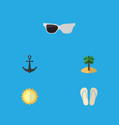 flat icon beach set of ship hook spectacles vector image