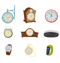 flat set of retro and modern digital clocks vector image