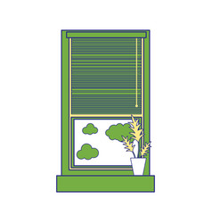 full color window with curtain blind open and vector image