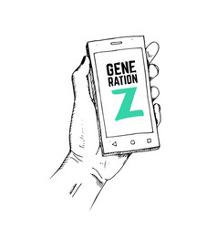 generation z concept drawn hand with smartphone vector image