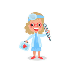 Girl doctor in professional clothing with medical vector