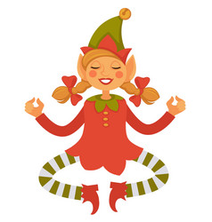Girl elf in cone hat and striped leggings meditate vector