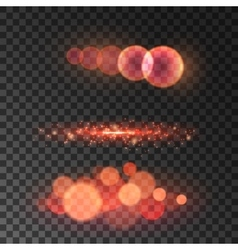 Golden red bokeh light with lens flare effect vector image