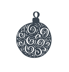 handdraw scandinavian christmas ball with ornament vector image