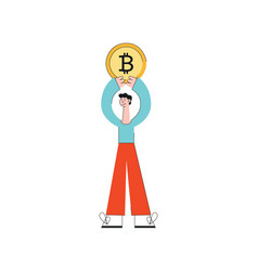 happy business man holding big bitcoin coin vector image