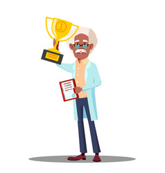 happy doctor holding winner cup best doctor vector image