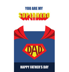 happy fathers day superhero dad card vector image
