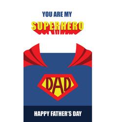 Happy fathers day superhero dad card vector